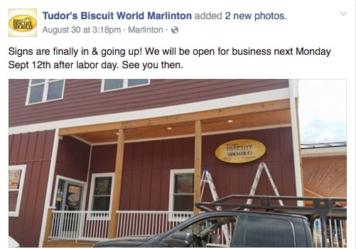Tudors Biscuit World Marlinton WV