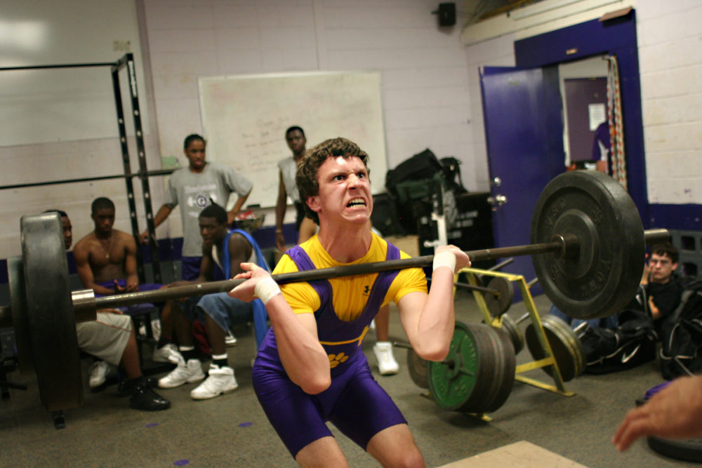 March 29, 2007 Daniel Nazworth of Union County High School struggles at the weightlifting competition at Gainesville High School.