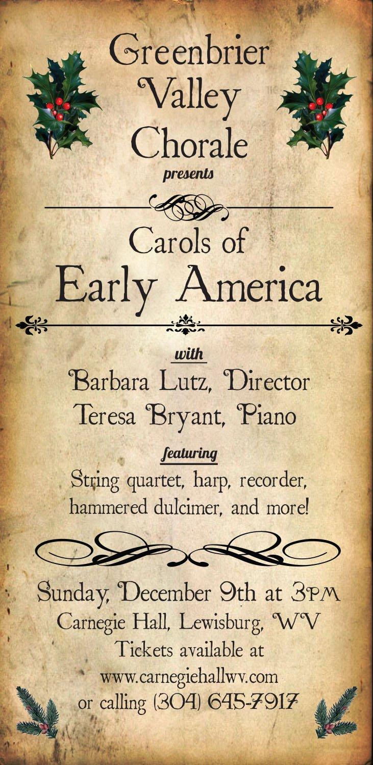 Sunday, Dec 9: Carols of Early America - Hashtag Lewisburg WV City Paper